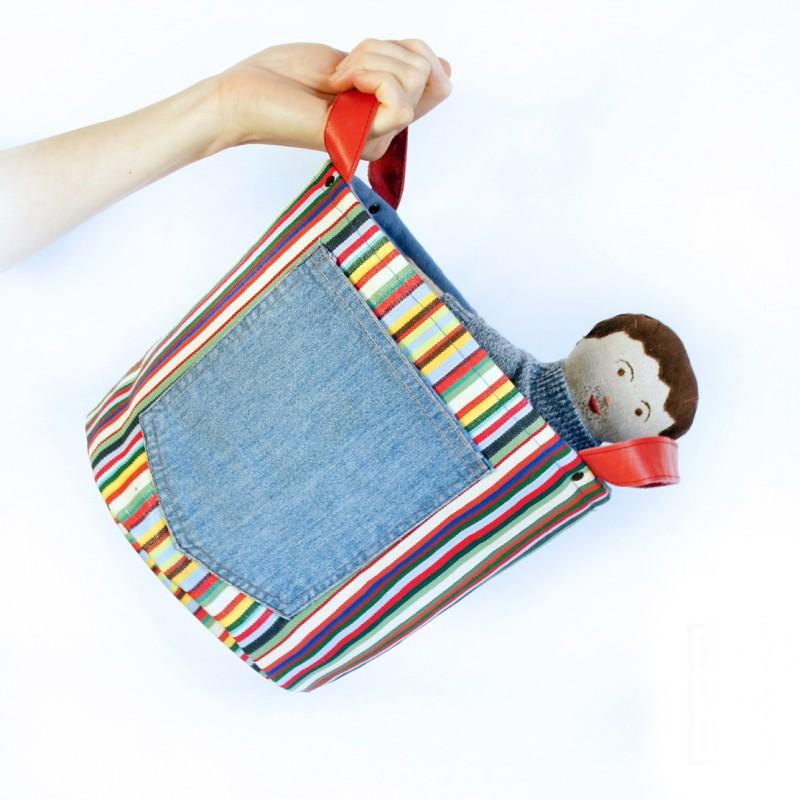 textilní koš Riflová kapsa II